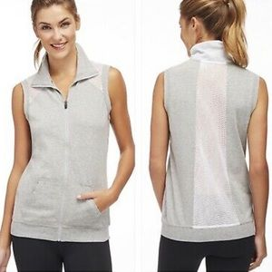 Fabletics gray with white mesh vest